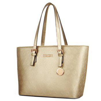 Graceful Solid Color and Embossing Design Women's Tote Bag - CHAMPAGNE
