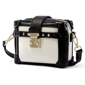 Retro Color Block and Hasp Design Women's Crossbody Bag - WHITE/BLACK