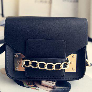Leisure Solid Color and Metal Design Women's Crossbody Bag - BLACK