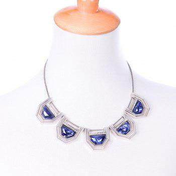 Geometric Artificial Gem Necklace - SILVER