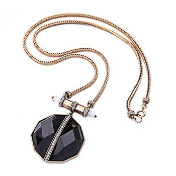 Artificial Gem Rhinestone Necklace -  GOLDEN