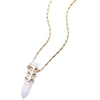 Faux Gem Bullet Necklace -  WHITE