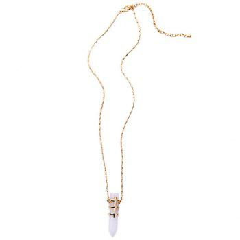 Faux Gem Bullet Necklace - WHITE WHITE