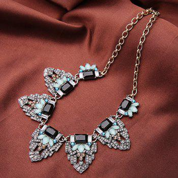 Chic Faux Gem Alloy Geometric Necklace For Women - GOLDEN