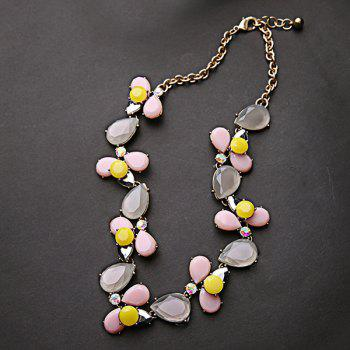 Faux Gem Flower Water Drop Necklace - GOLDEN