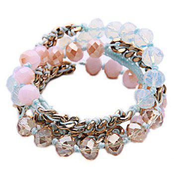 Layered Faux Crystal Bracelet - PINK PINK
