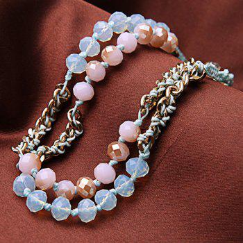 Layered Faux Crystal Bracelet -  PINK