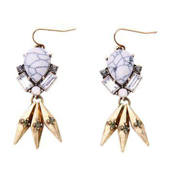 Pair of Rivet Faux Gem Geometric Earrings