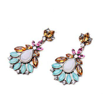 Pair of Water Drop Flower Rhinestone Earrings - COLORMIX