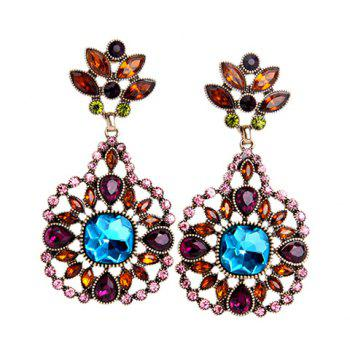 Pair of Flower Artificial Crystal Earrings - COLORMIX COLORMIX