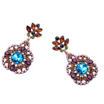 Pair of Flower Artificial Crystal Earrings - COLORMIX