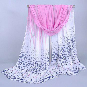 Chic Scrawl Stripe and Leopard Pattern Women's Chiffon Scarf - PINK PINK