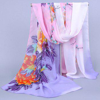 Chic Blooming Peony Wintersweet and Bird Pattern Women's Chiffon Scarf