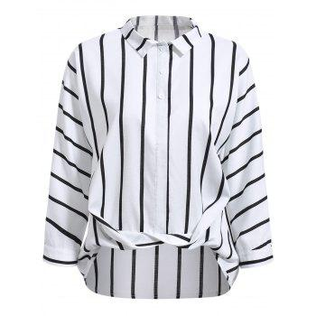 Casual Flat Collar Long Sleeve Horizontal Line Wrap Shirt For Women