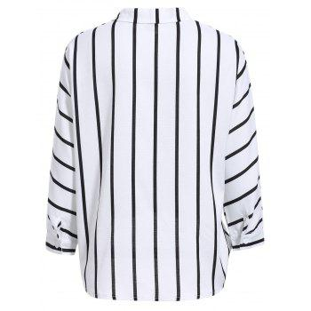 Casual Flat Collar Long Sleeve Horizontal Line Wrap Shirt For Women - WHITE WHITE