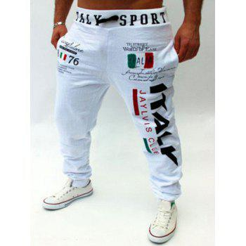 Flag and Letters Print Lace-Up Beam Feet Men's Jogger Pants