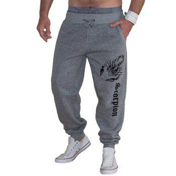Scorpion and Letters Print Lace-Up Beam Feet Men's Jooger Pants