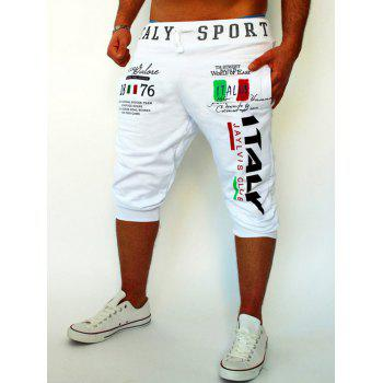 Flag and Letters Print Lace-Up Beam Feet Men's Cropped Pants