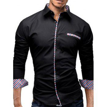 Turn-Down Collar Colorful Checked Splicing Design Long Sleeve Men's Shirt