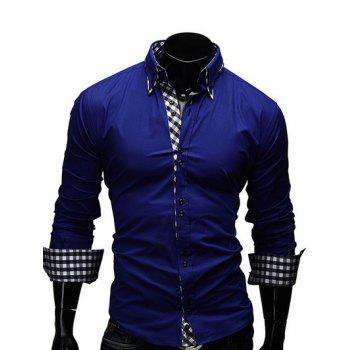 Buy Turn-Down Collar Checked Splicing Design Long Sleeve Men's Shirt SAPPHIRE BLUE