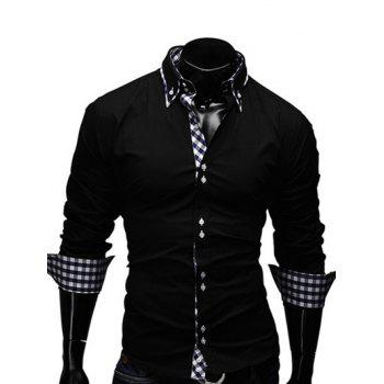 Turn-Down Collar Checked Splicing Design Long Sleeve Men's Shirt
