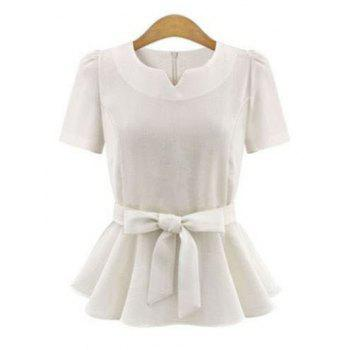 Elegant Short Sleeve Pure Color Bowtie Ruffled Design Women's Blouse