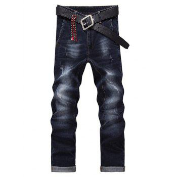Fashion Zip Fly Straight Legs Cropped Jeans For Men - BLACK GREY 28