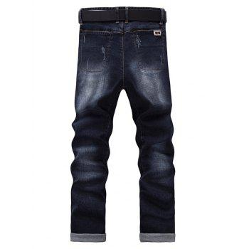 Fashion Zip Fly Straight Legs Cropped Jeans For Men - BLACK GREY 33