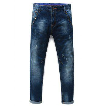 Zip Fly Stars Straight Legs Men s Cropped Jeans