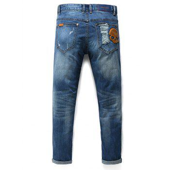 Men's Fashion Zip Fly Skull Straight Legs Cropped Jeans - 33 33