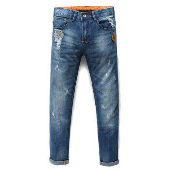 Men's Fashion Zip Fly Skull Straight Legs Cropped Jeans - BLUE 33