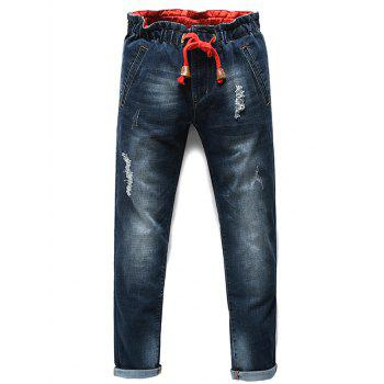 Men's Fashion Lace Up Straight Legs Cropped Jeans - BLACK GREY 31