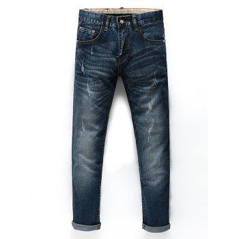 Men's Fashion Zip Fly Straight Legs Cropped Jeans