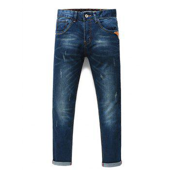 Men's Fashion Straight Legs Cropped Jeans - BLUE 33
