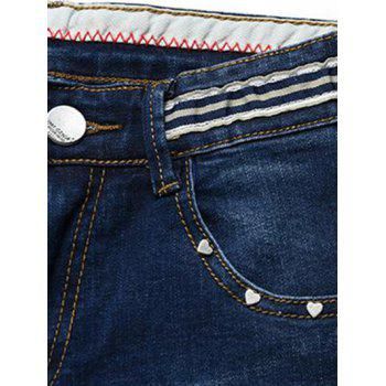Men's Fashion Straight Legs Striped Cropped Jeans - 38 38