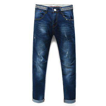 Straight Legs Striped Men s Cropped Jeans