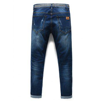 Men's Fashion Straight Legs Striped Cropped Jeans - BLUE 38