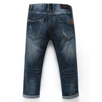 Men's Fashion Straight Legs Zip Fly Cropped Jeans - BLUE 32