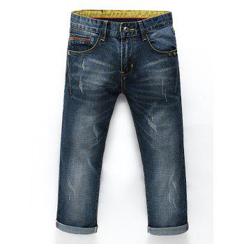 Men's Fashion Straight Legs Zip Fly Cropped Jeans - BLUE 31