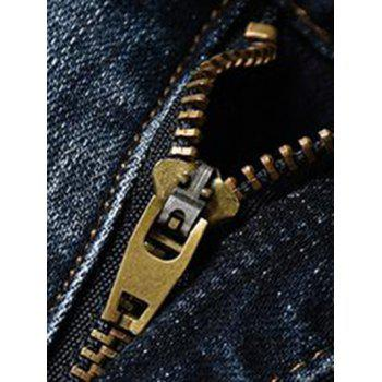 Men's Fashion Straight Legs Zip Fly Cropped Jeans - BLUE 34