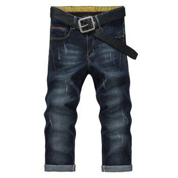 Straight Legs Solid Color Men s Cropped Jeans