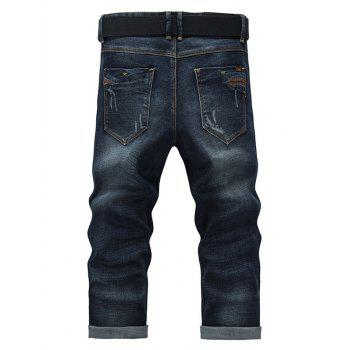 Men's Fashion Straight Legs Solid Color Cropped Jeans - BLUE 38