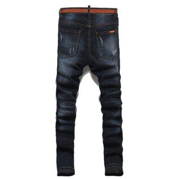 Men's Casual Ripped Straight Legs Solid Color Zip Fly Jeans - BLACK GREY 29