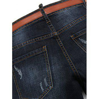 Men's Casual Ripped Straight Legs Solid Color Zip Fly Jeans - BLACK GREY 36