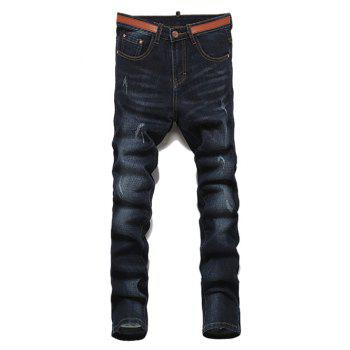 Ripped Straight Legs Solid Color Zip Fly Men s Jeans