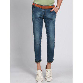 Straight Legs Solid Color Zip Fly Men s Cropped Jeans