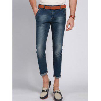 Solid Color Zip Fly Men s Cropped Jeans