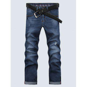 Men's Casual Solid Color Ripped Zip Fly Cropped Jeans - BLUE 29