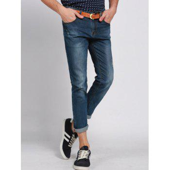 Buy Men's Casual Solid Color Ripped Zip Fly Cropped Jeans BLUE