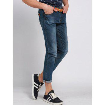 Men's Casual Solid Color Ripped Zip Fly Cropped Jeans - BLUE 32